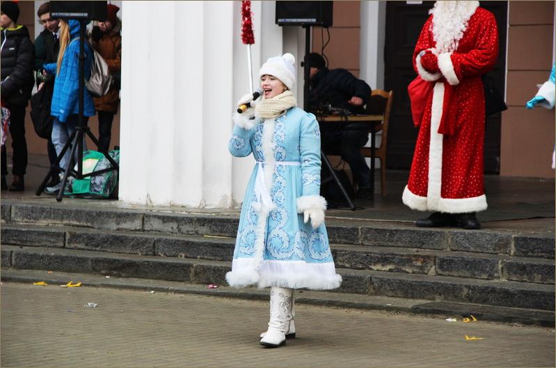 ВБрянске 20 Дедов Морозов иСнегурочек открыли главную елку