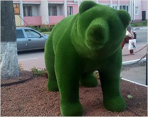 В Брянске на улице Дуки появился зелёный медведь