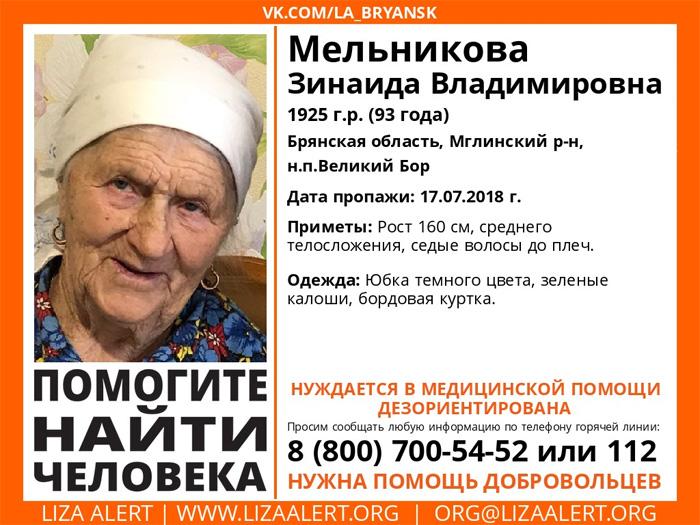 В лесу в Мглинском районе уже трое суток разыскивают пропавшую 93-летнюю женщину