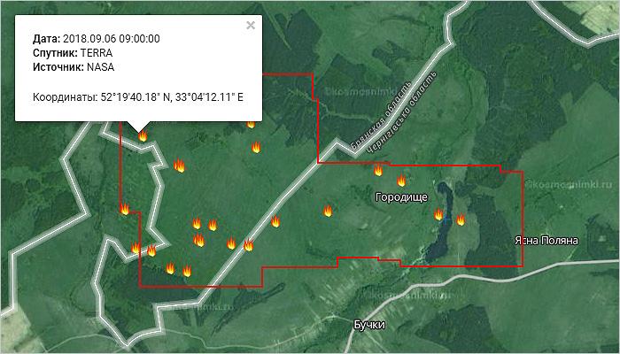 Спутники зафиксировали большой пожар в Погарском районе, пришедший с украинской стороны