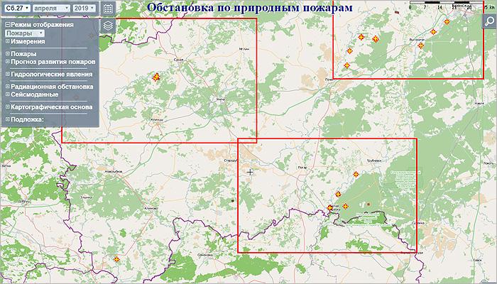 Система слежения МЧС фиксирует лесной пожар на брянских «чернобыльских» территориях