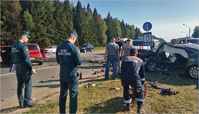 Ford Mondeo с брянскими номерами попал в смертельную аварию в Подмосковье