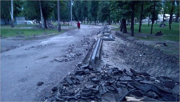 Реконструкция Первомайского парка в Бежице: демонтированы фонтан и исторический вход